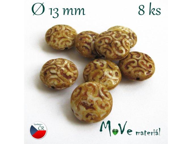 Český travertinový korálek s ornamenty 13mm,8ks