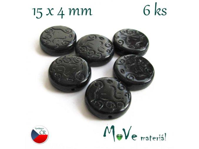 Česká černá placka s ornamenty 15x4mm 6ks