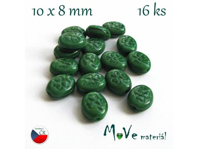 České zelené oválky s trojlístkem 10x8mm 16ks