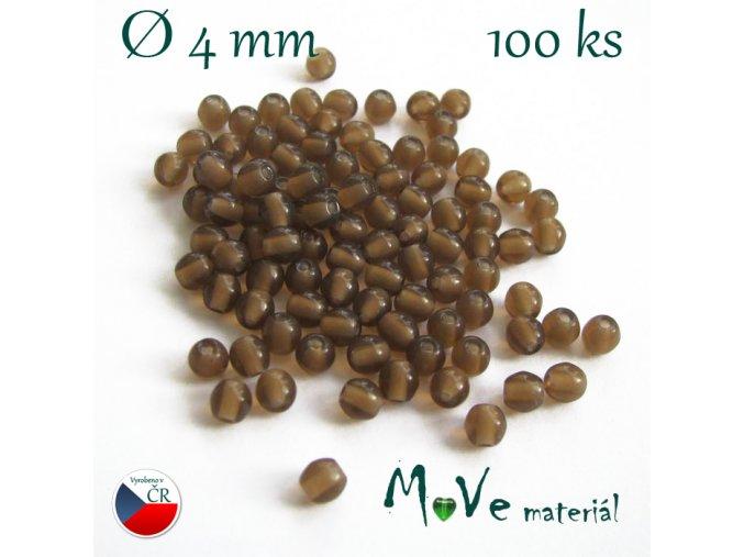 České skleněné hnědé kuličky 4mm 100 ks