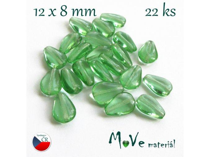 Česká skleněná zelená slzička 12x8mm 22ks