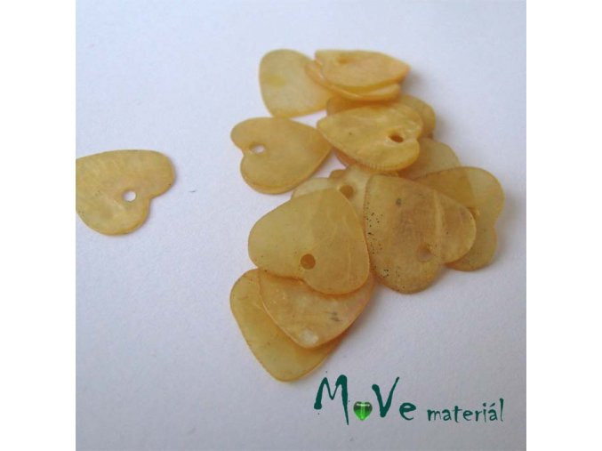 Perleťové penízky srdíčka 13mm, 6ks, žluté
