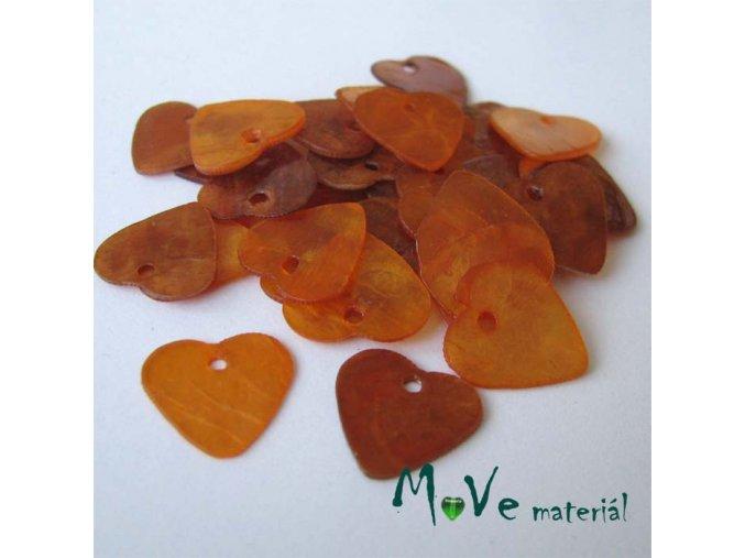 Perleťové penízky srdíčka 13mm, 6ks, oranžové