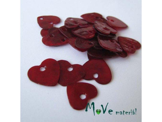 Perleťové penízky srdíčka 13mm, 6ks, červené
