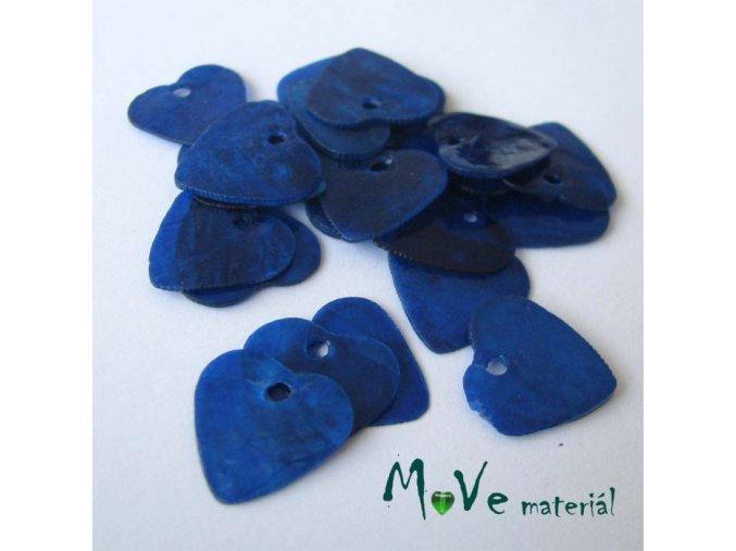 Perleťové penízky srdíčka 13mm, 6ks, tm. modré