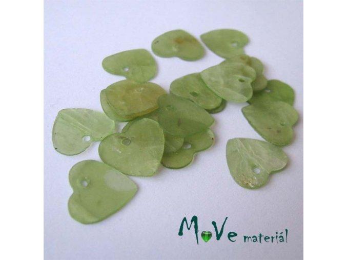 Perleťové penízky srdíčka 13mm, 6ks, sv. zelené