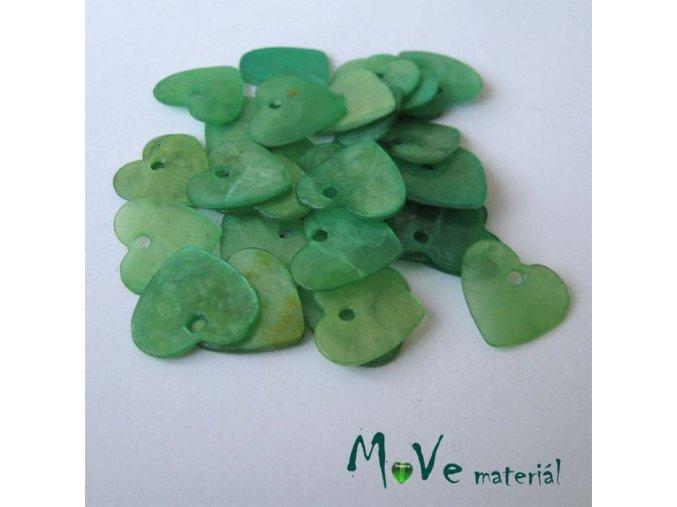 Perleťové penízky srdíčka 13mm, 6ks, zelené