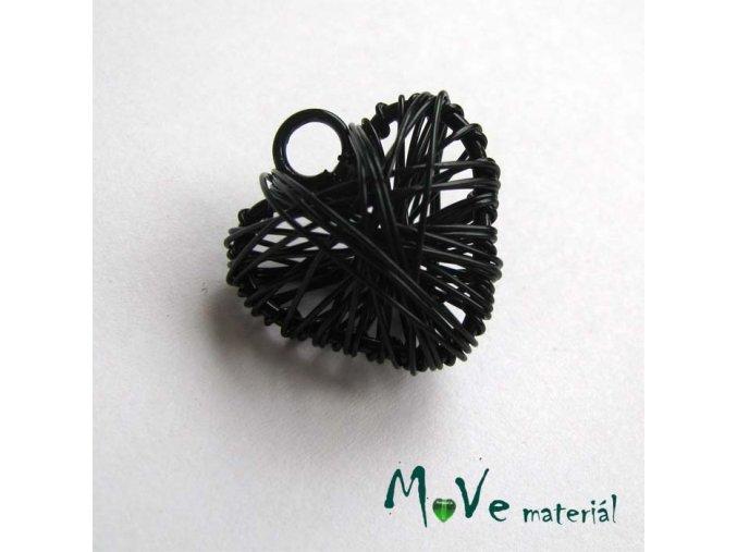 Přívěsek 20x22mm drátované srdce černé 1ks