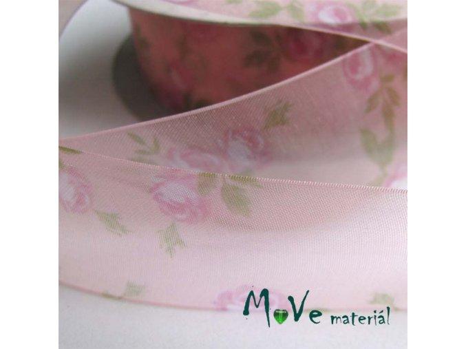 Monofilová stuha růže, 28mm, 1m, růžová