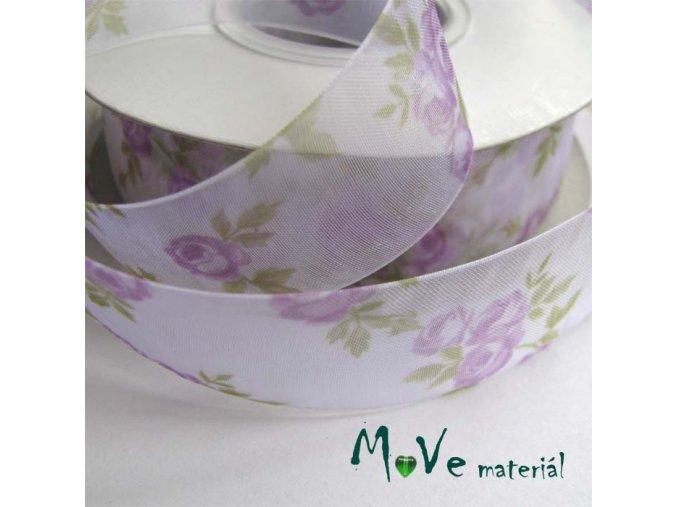 Monofilová stuha růže, 28mm, 1m, fialová