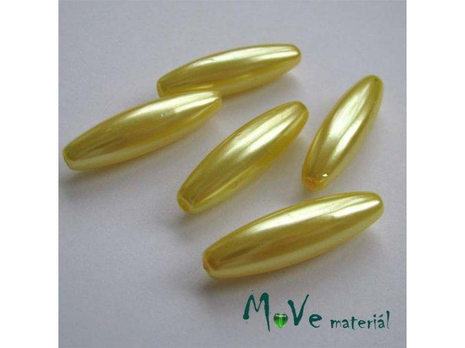 Korálky plast olivka 10x30mm, žlutá, 5ks