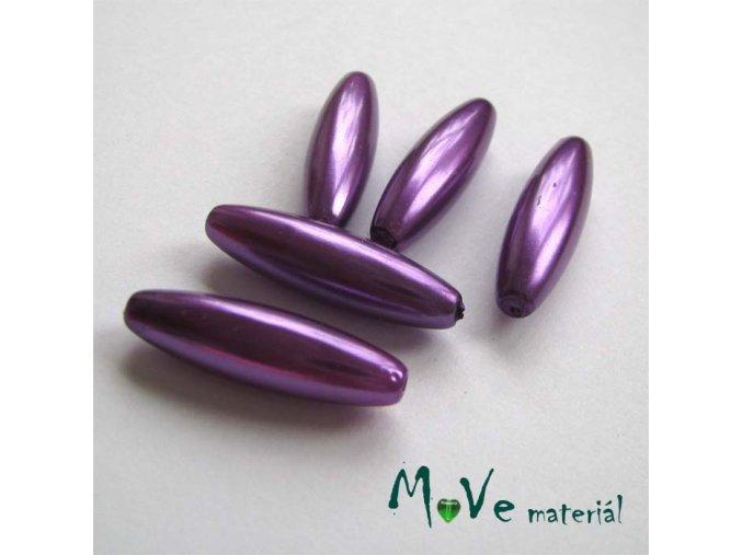 Korálky plast olivka 10x30mm, stř. fialová, 5ks