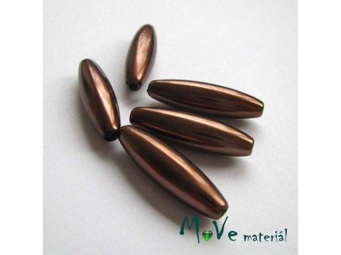 Korálky plast olivka 10x30mm, hnědá, 5ks