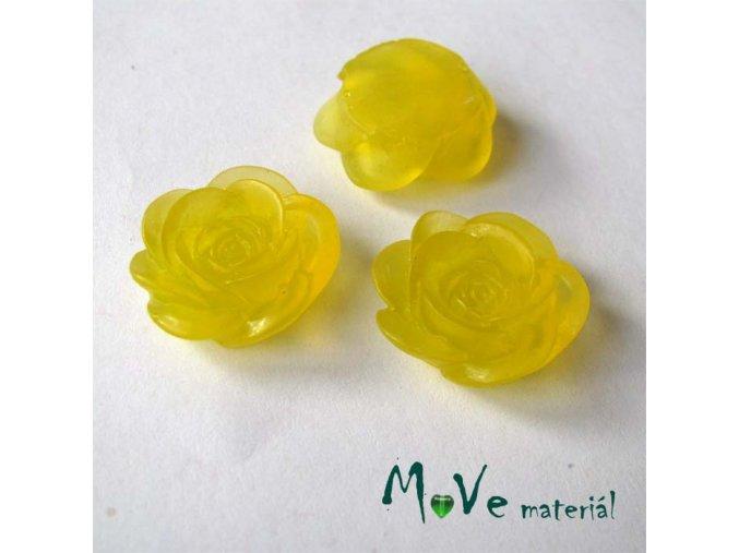 Kabošon květ transparentní A4 - resin - 2ks, žlutý