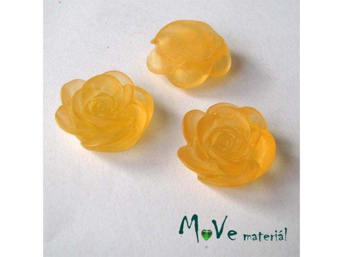 Kabošon květ transparentní A4 - resin - 2ks, oranžový
