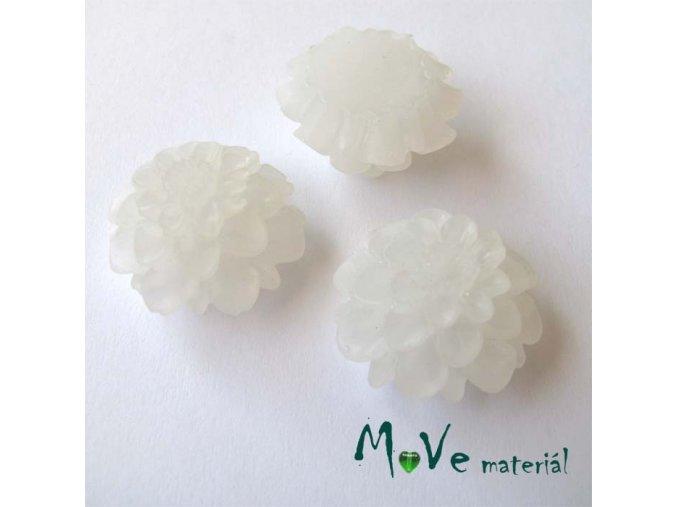 Kabošon květ transparentní A5 - resin - 2ks, bílý