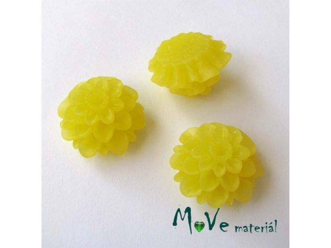 Kabošon květ transparentní A5 - resin - 2ks, žlutý