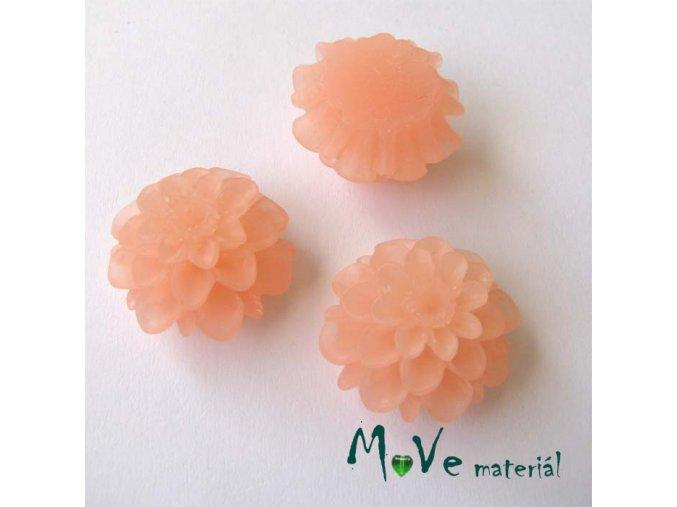 Kabošon květ transparentní A5 - resin - 2ks, sv. losos