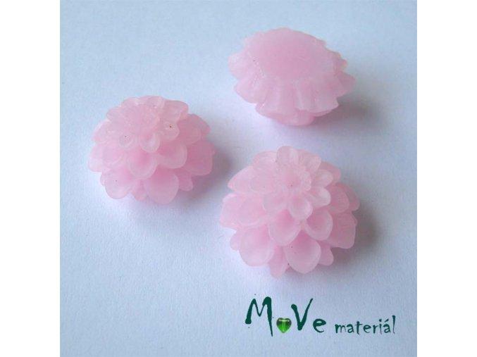 Kabošon květ transparentní A5 - resin - 2ks, sv. růžový