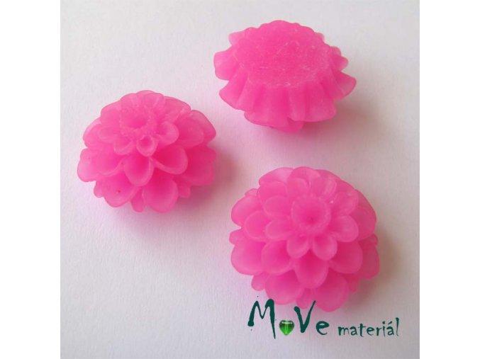 Kabošon květ transparentní A5 - resin - 2ks, tm. růžový