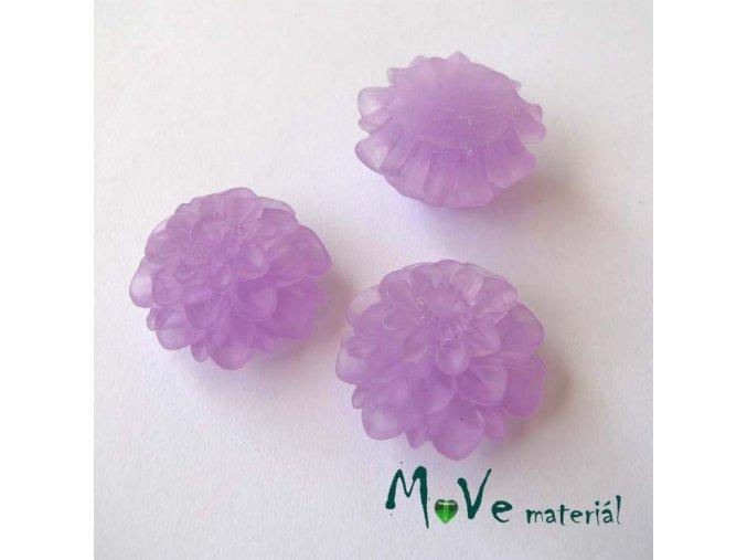 Kabošon květ transparentní A5 - resin - 2ks, tm. fialový