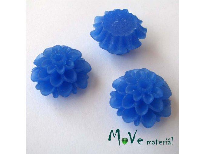 Kabošon květ transparentní A5- resin - 2ks, tm. modrý