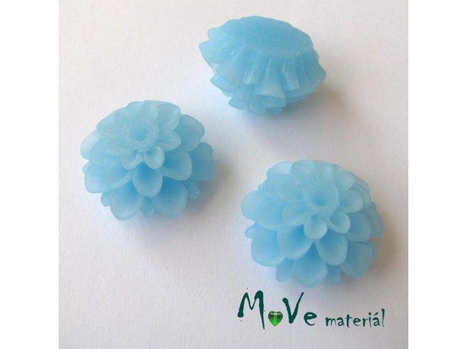 Kabošon květ transparentní A5 - resin - 2ks, sv. modrý