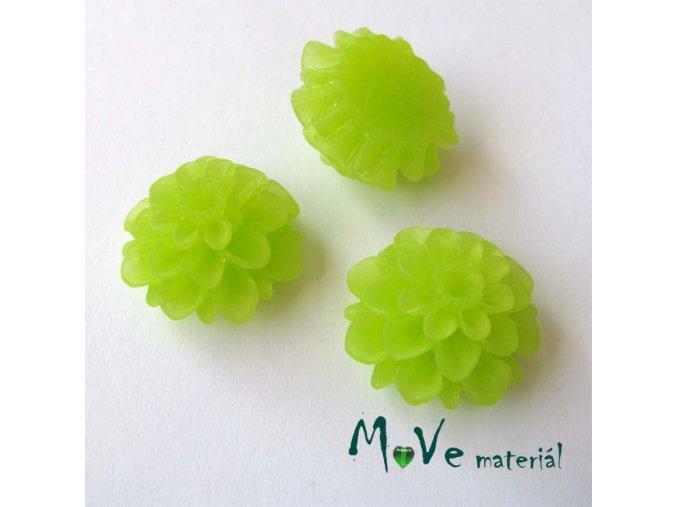 Kabošon květ transparentní A5 - resin - 2ks, sv. zelený
