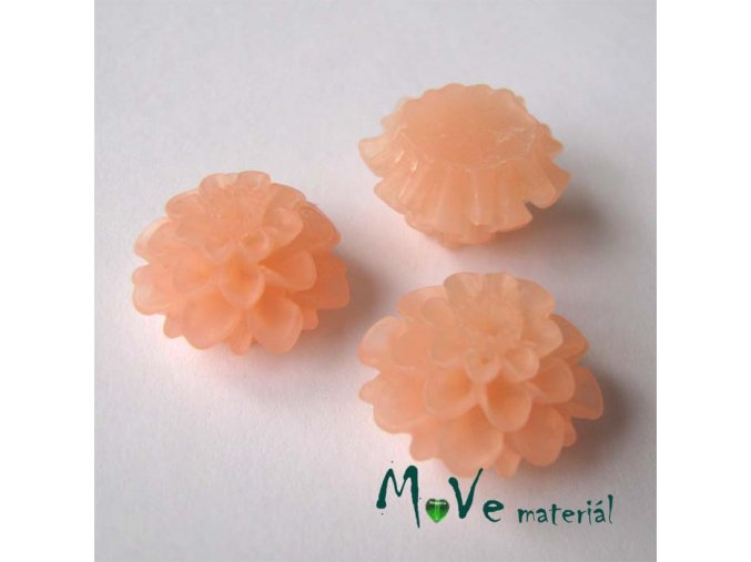 Kabošon květ transparentní A5 - resin - 2ks, tm. losos