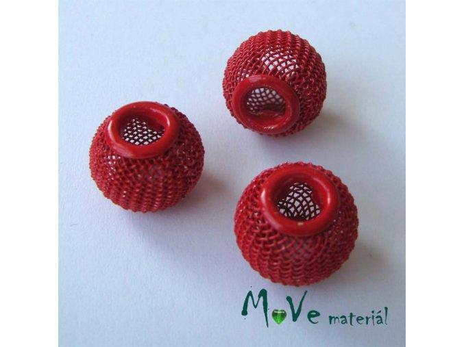 Korálek drátěný se širokým průvlekem 1 kus, červený matný