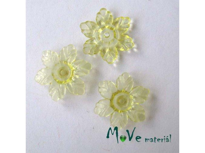 Akrylový květ 22mm, 4ks, žlutý