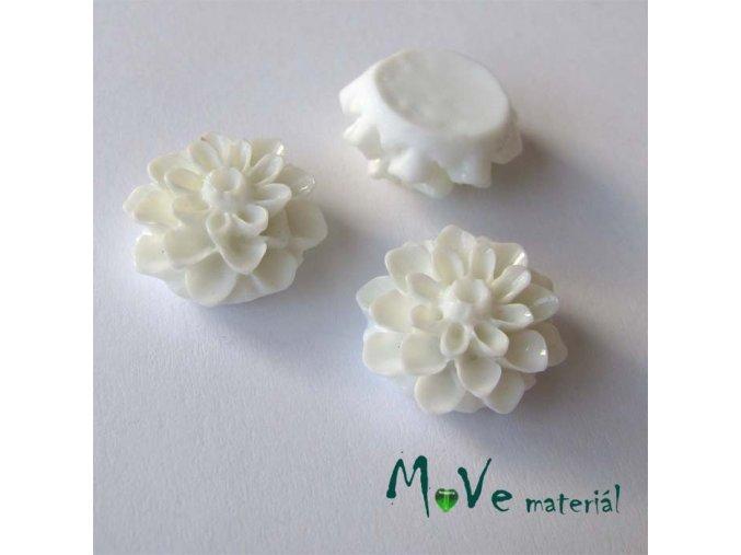 Kabošon květ lesklý A7 - resin - 2ks, bílý