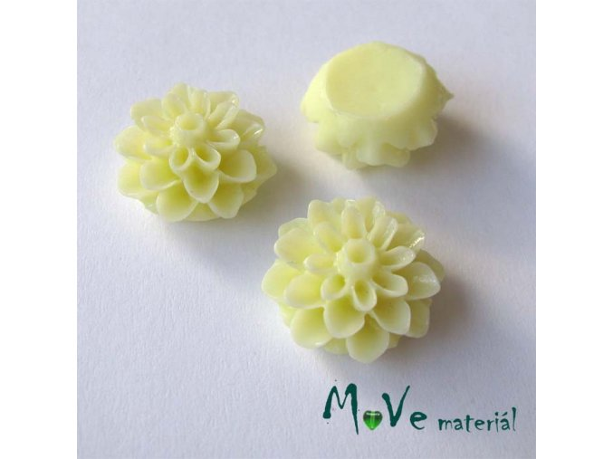 Kabošon květ lesklý A7 - resin - 2ks, světle žlutý