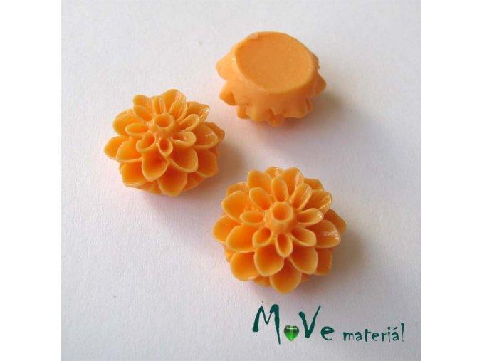 Kabošon květ lesklý A7 - resin - 2ks, světle oranžový