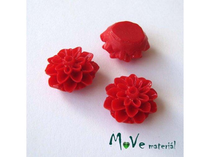 Kabošon květ lesklý A7 - resin - 2ks, červený