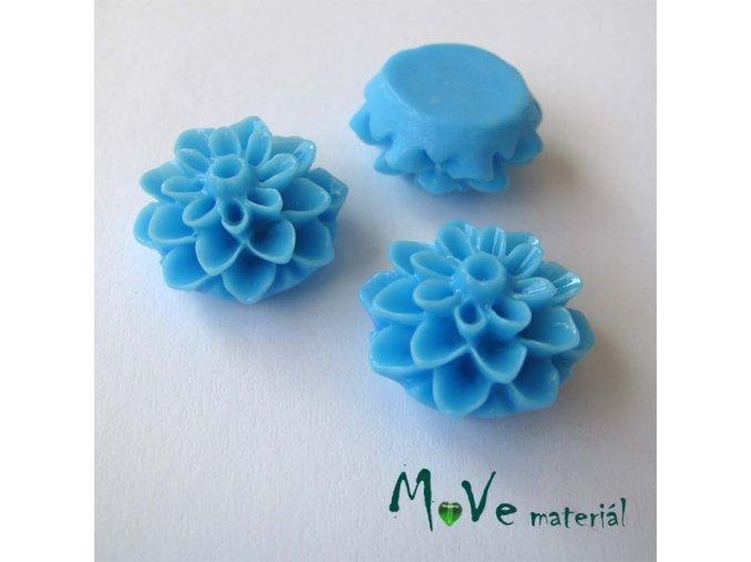 Kabošon květ lesklý A7 - resin - 2ks, sv. modrý