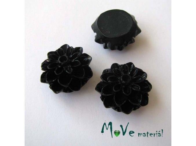Kabošon květ lesklý A7 - resin - 2ks, černý