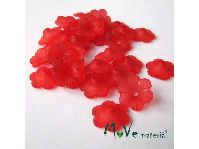 Transparentní akrylové kytičky 12x3mm, 30ks, červené
