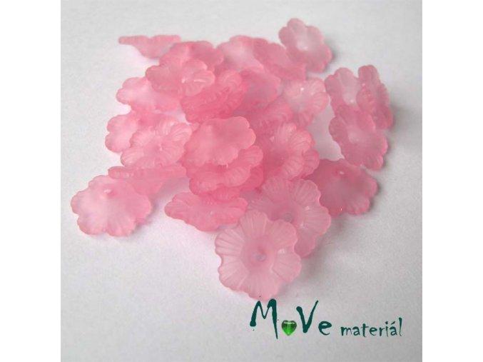 Transparentní akrylové kytičky 12x3mm, 30ks, růžové