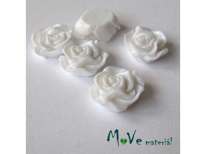 Kabošon květ lesklý A3 - resin - 2ks, bílý