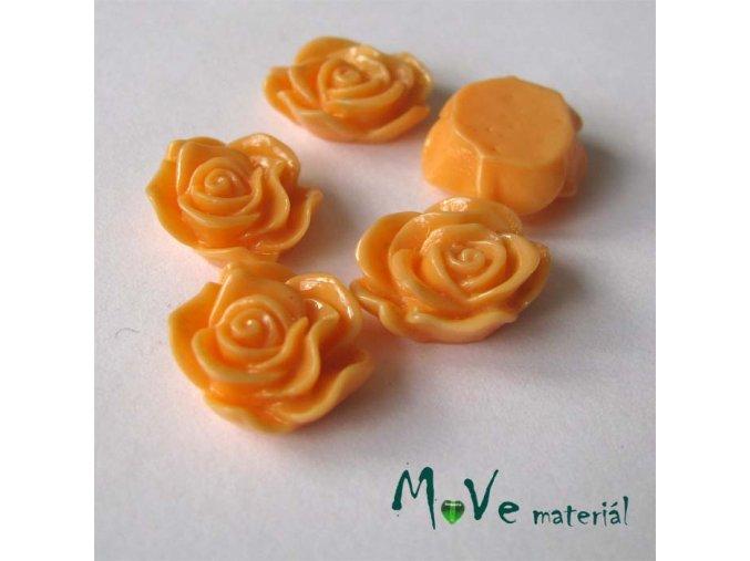 Kabošon květ lesklý A3 - resin - 2ks, meruňkový