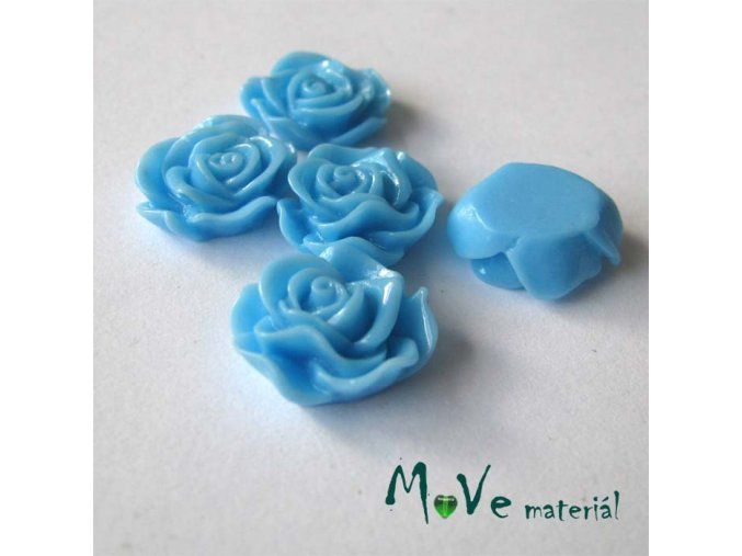 Kabošon květ lesklý A3 - resin - 2ks, stř. modrý