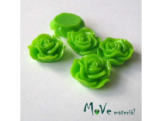 Kabošon květ lesklý A3 - resin - 2ks, hráškový