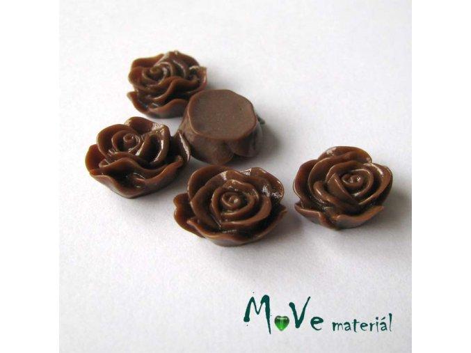 Kabošon květ lesklý A3 - resin - 2ks, tmavě hnědý