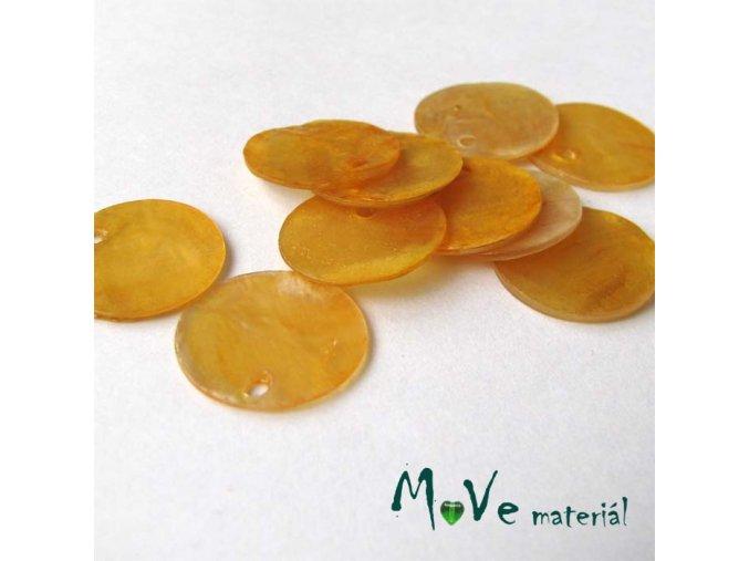 Perleťové penízky 15mm, 10ks, tm. žluté