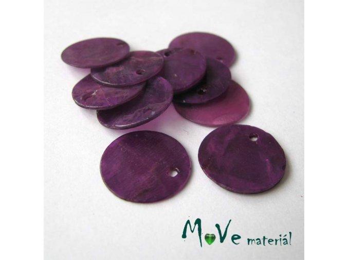 Perleťové penízky 15mm, 10ks, tm. fialové