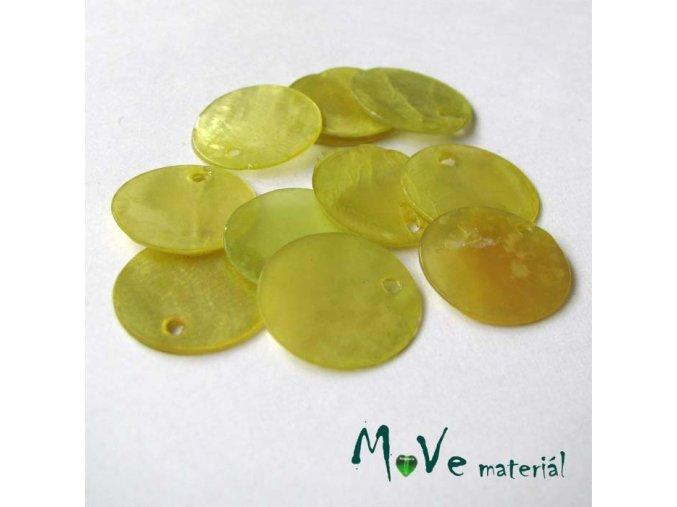 Perleťové penízky 15mm, 10ks, žlutozelené