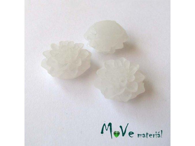 Kabošon květ transparentní A6 - resin - 2ks, bílý