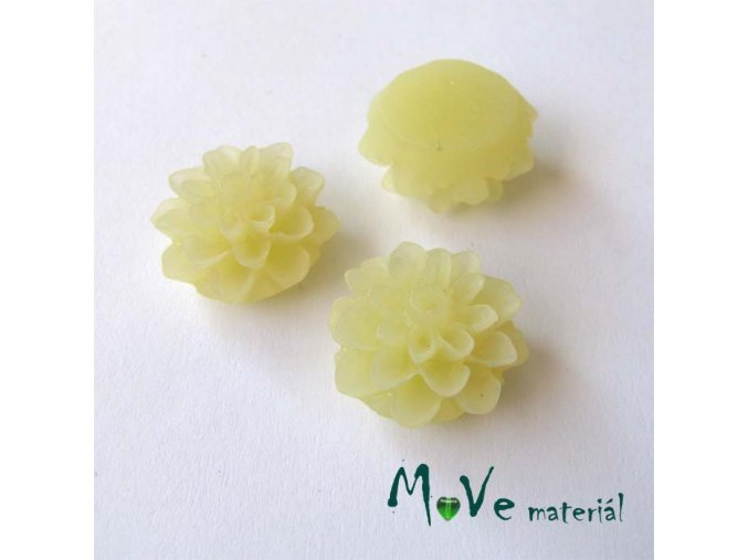 Kabošon květ transparentní A6 - resin - 2ks, vanilkový