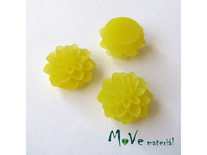 Kabošon květ transparentní A6 - resin - 2ks, tmavě žlutý